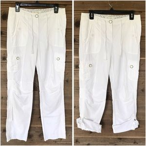 WHBM White Cotton/Linen Blend Roll Up Cargo Pants